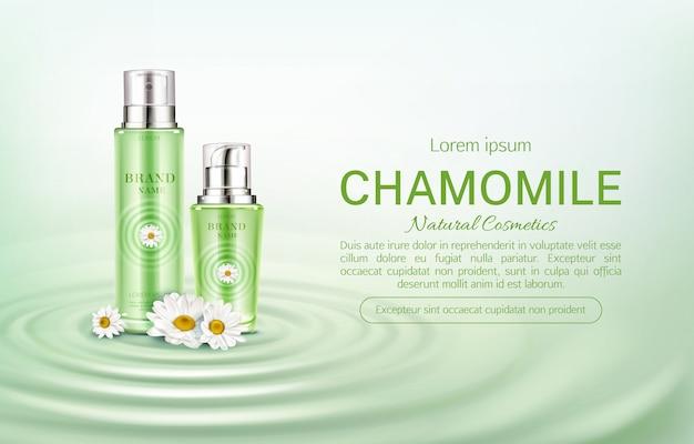 Bannière de bouteilles de camomille eco cosmétiques