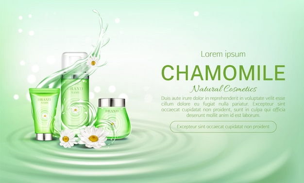 Bannière de bouteilles de cosmétiques éco à la camomille
