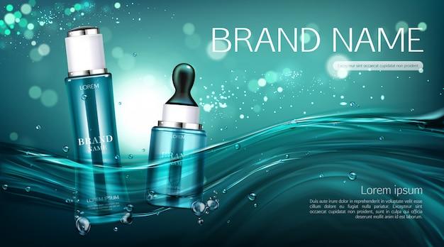 Bannière de bouteilles de cosmétiques. publicité de lotion et sérum