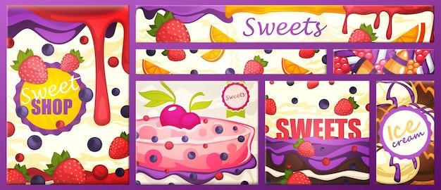 Bannière avec la boutique d'inscription avec des bonbons, illustration vectorielle
