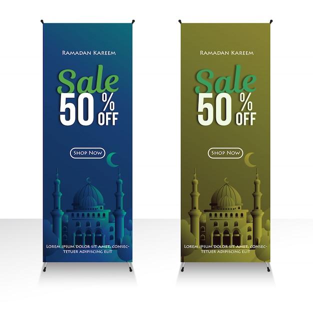 Bannière boutique ramadan kareem vente 50% promo spéciale au mois du ramadan et illustration de la mosquée