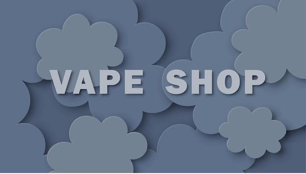 Bannière de boutique vape sur un nuage de vapeur signe sur fond de nuages de fumée bleue illustration vectorielle