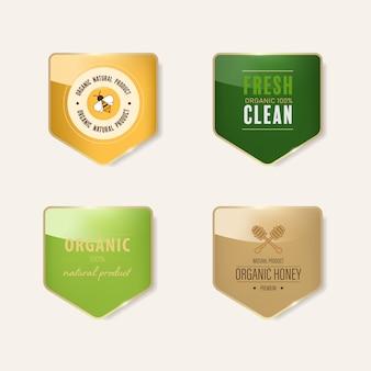 Bannière brillante avec cadre en métal doré. conception de badges vintage.