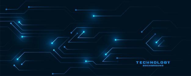 Bannière brillante de lignes de circuit technologique