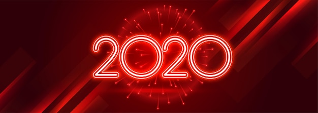 Bannière brillante rouge 2020 bonne année célébration