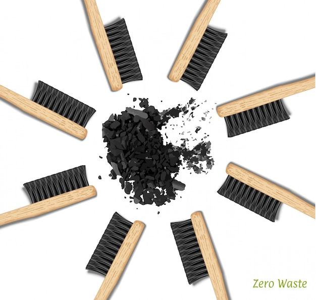Bannière brosses à dents en bambou dans un cercle. zero gaspillage
