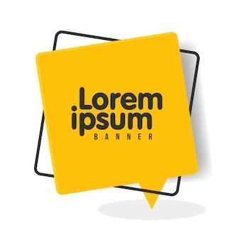 Bannière de bulle de discours géométrique plat à la mode. bannières transparentes vives dans un style design moderne. couleurs et formes vives. couleurs noires et jaunes.