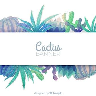 Bannière de cactus aquarelle