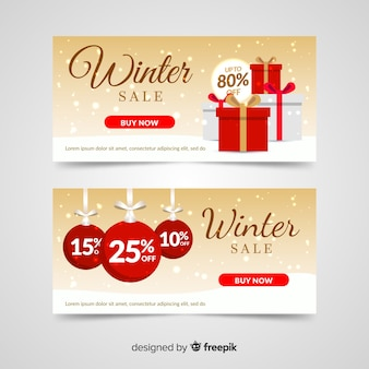 Bannière de cadeau d'hiver