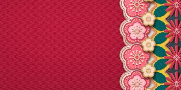 Bannière de cadre de broderie fleur de prunier et chrysanthème