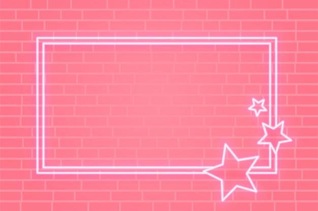 Bannière de cadre étoile néon rose avec espace de texte