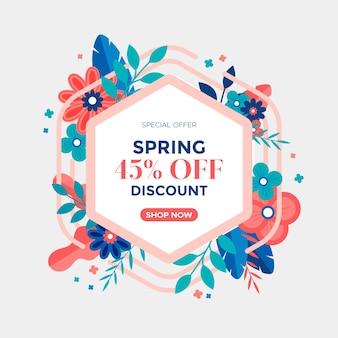 Bannière de cadre floral printemps design plat