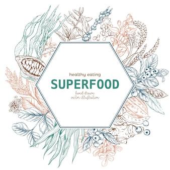 Bannière de cadre hexagonal superfood, croquis de couleur