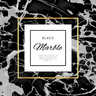 Bannière de cadre or sur fond de marbre noir. conception de vecteur de style de luxe.