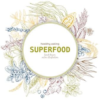 Bannière à cadre rond superfood, couleur