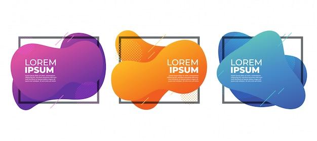Bannière de cadres de forme liquide abstraite fluide moderne coloré.