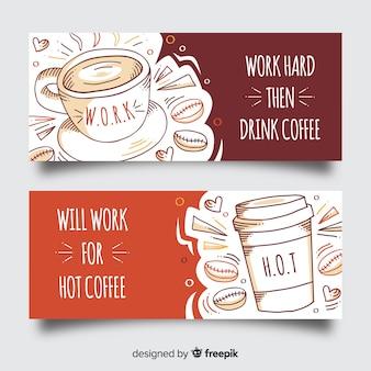 Bannière de café dessiné à la main
