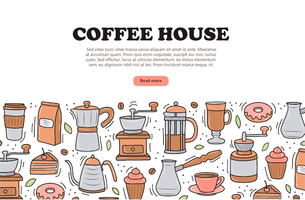 Bannière de café sur fond blanc style doodle