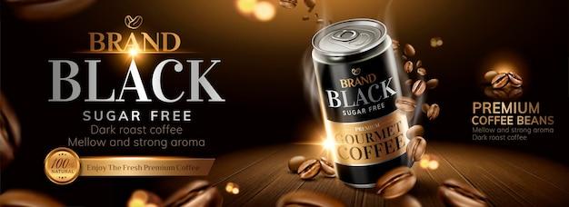 Bannière de café noir avec des grains de café torréfiés sur table en bois