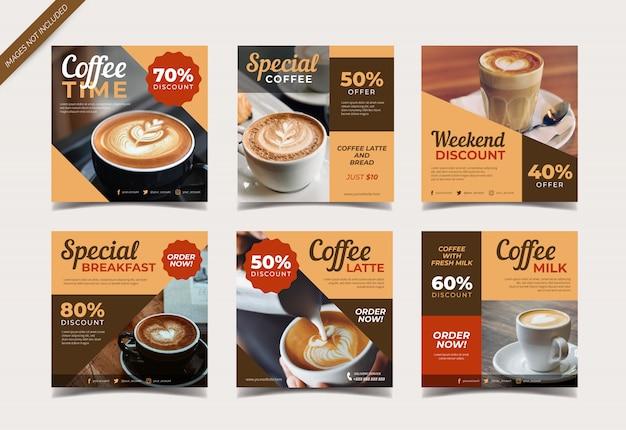 Bannière de café pour le modèle de publication sur les médias sociaux