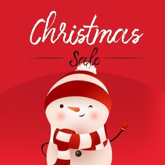 Bannière calligraphique de vente de noël avec bonhomme de neige