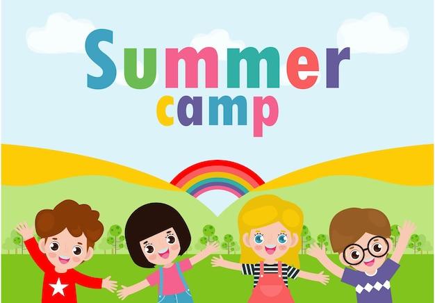 Bannière de camp d'été pour enfants avec des enfants dans le parc