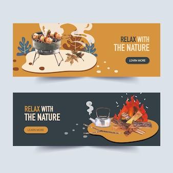 Bannière de camping avec barbecue, barbecue et feu de camp