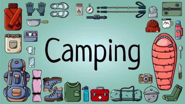Bannière de camping avec ensemble d'éléments touristiques