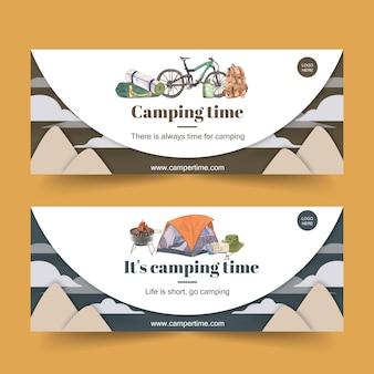 Bannière de camping avec illustrations de bicyclette, chapeau de seau et sac à dos