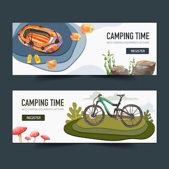 Bannière de camping avec vélo et bateau