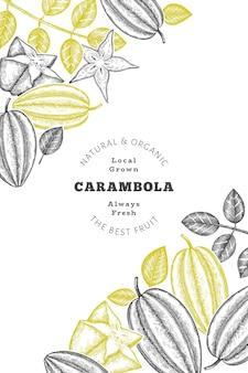 Bannière de carambole de style croquis dessinés à la main. illustration vectorielle de fruits frais biologiques. modèle de conception de fruits rétro