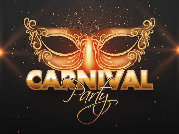Bannière carnival party avec masque scintillant.