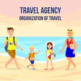 Bannière carrée d'agence de voyage avec lettrage