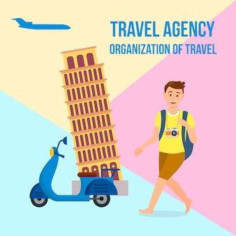Bannière carrée d'agence de voyage avec texte, lettrage.
