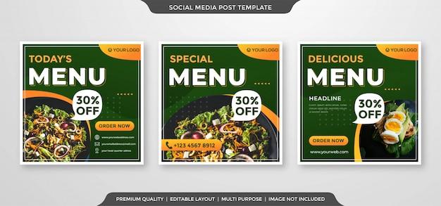 Bannière carrée alimentaire promotion des médias sociaux