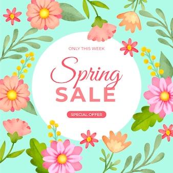 Bannière carrée aquarelle avec vente de printemps