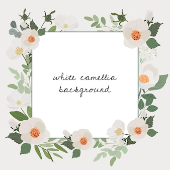 Bannière carrée de cadre de couronne de bouquet de fleurs de camélia blanc