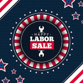 Bannière carrée de la fête du travail avec vente