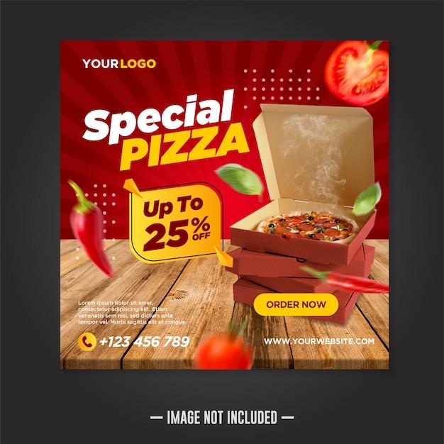 Bannière carrée de modèle de publication de médias sociaux de nourriture de restaurant