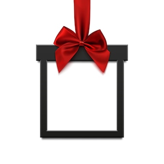 Bannière carrée noire en forme de cadeau de noël avec ruban rouge et arc