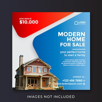 Bannière carrée de propriété immobilière pour les médias sociaux