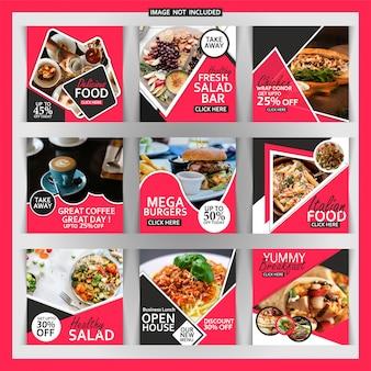 Bannière carrée de restaurant ou poste pour instagram