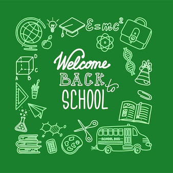 Bannière carrée de retour à l'école avec lettrage fond vert et blanc dessiné à la craie