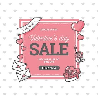 Bannière carrée de la saint-valentin dessinée à la main à vendre avec des coeurs