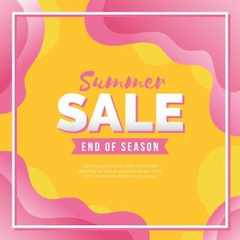 Bannière carrée des soldes d'été de fin de saison