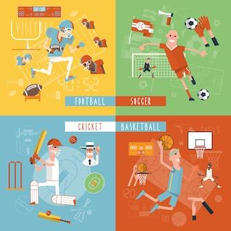 Bannière carrée de sport d'équipe icônes plat