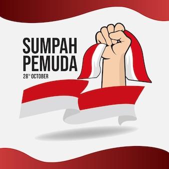 Bannière carrée sumpah pemuda avec drapeau