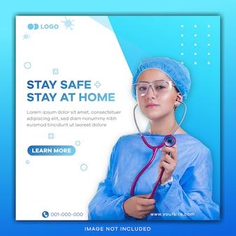 Bannière carrée avec thème de prévention des virus pour le modèle de publication sur les médias sociaux