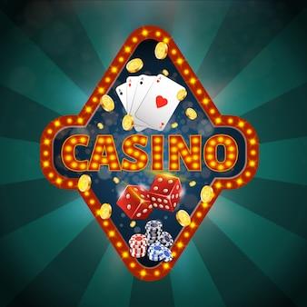Bannière carrée avec typographie de casino, quatre as