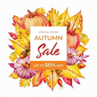 Bannière carrée de vente automne aquarelle